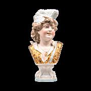SALE 19th C. German Enameled Bisque Bust On Pedestal