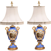 SALE Pair of 1830 English Vases With Named Landscapes Fitted As Lamps