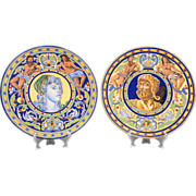 SALE Pair of Early 20th C. Italian Majolica Wall Chargers