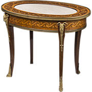 SALE French Regence Style Inlaid Oval Coffee Table With Marble Top
