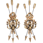 SALE Late 19th C. Italian Carved Wood And Iron Sconces