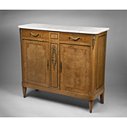 SALE Late 19th C. French Louis XVI Inlaid Buffet With Marble Top