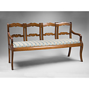 SALE Early 19th C. French Provincial Chestnut Four Part Settee