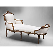SALE 19th C. Hand Carved French La Duchesse Brisee Or Chaise Lounge