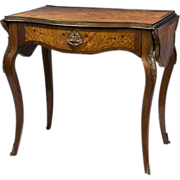 SALE 19th C. French Kingwood Writing Table With Floral Inlay, Drop Leaves
