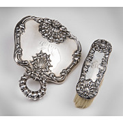 SOLD Dominick & Haff Sterling Silver Mirror & Clothes Brush