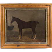 SALE 19th C. English Oil Painting On Canvas Of Horse In Stable