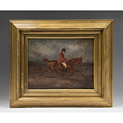 SALE 19th C. English Oil Painting On Canvas Of Rider And Horse