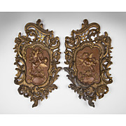SALE Pair of 19th C. French Rococo Bronze Cast Plaques