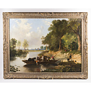 SALE 19th C. Oil On Canvas Of Rural English Landscape