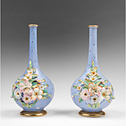 Pair of 19th C. Paris Porcelain Or Vieux Porcelain Bud Vases