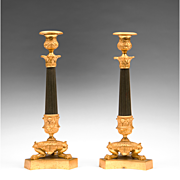SALE Pair of French Empire Patinated Bronze Candlesticks