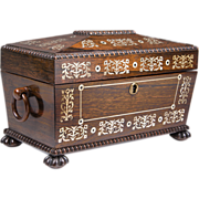 SOLD English Regency Rosewood Tea Caddy Chest Inlaid With Mother Of Pearl