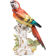 SALE German Dresden Porcelain Figurine of Macaw Parrot