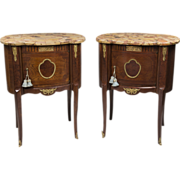SALE Pair of Louis XV Style Kidney Shaped Commodes With Marble Tops