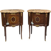 SALE Pair of Louis XV Style Kidney Shaped Commodes Or Nightstands With Marble Tops