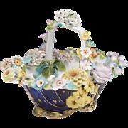 1830 English Coalport Porcelain Flower Encrusted Basket