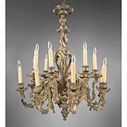 SALE Late 19th C. Bronze Rococo 18 Light Chandelier