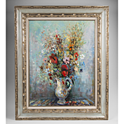 SALE Circa 1960 Floral Oil Painting On Canvas By Lucien Delarue