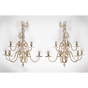 SALE Pair of Silverplated Brass Dutch Style 7-Arm Tiered Sconces