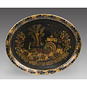 SALE Mid 19th C. English Stenciled Landscape Tole Tray With Peacocks