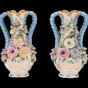 Jacob Petit Porcelain Flower Encrusted Vases