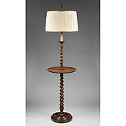 SALE English Barley Twist Walnut Floor Lamp With Stand