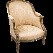SALE Belle Epoque Louis XVI Bergere en Gondole Chair With Painted Frame