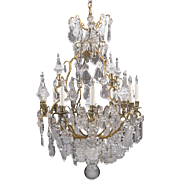 Louis XV Style Cut Crystal Pendalogue And Bronze Chandelier