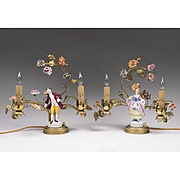 SALE Pair of 19th C. French Vanity Lamps With Porcelain Figures