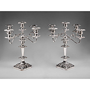SOLD Late 19th C. Pair Of English Sheffield Silverplate 5 Arm Candelabras