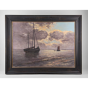 SALE Early 20th C. Impressionist Seascape Oil Painting By Leo von Konig
