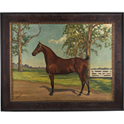 SALE Early 20th C. Equestrian Oil On Canvas By T. F. Emmons