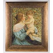SALE Late 19th C. Impressionist Pre-Raphaelite Style Oil On Board Of Mother And Child