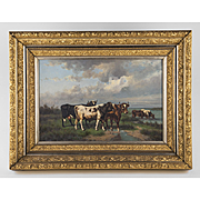 SALE Late Victorian American Oil On Canvas Of Cows In Gilt Carved Frame