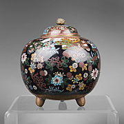 SALE Meiji Japanese Cloisonne Floral Censer Koro With Cover
