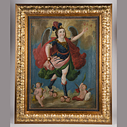 SALE 19th C. Spanish Colonial Or Cuzco School Painting Of the Archangel Michael