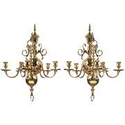 SALE Pair of Early 20th C. Solid Brass Chandelier Wall Sconces, Dutch Manner
