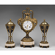 SALE 1900 Tiffany & Company Louis XVI Style French Garniture Clock Set