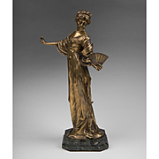 SALE 19th C. Bronze Figure of Woman With Fan