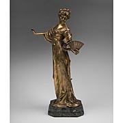 SALE 19th C. Bronze Figure of Woman With Fan
