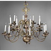 SALE Early 20th C. 16-Light Brass Flemish Chandelier with Double Eagle