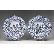 19th C. Pair of Delft Style Italian Chargers
