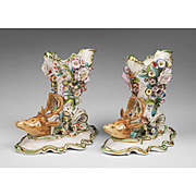 SALE Pair of Early 19th C. English Porcelain Floral Encrusted Stag Head Libation Cups