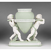 SALE Minton Glazed Parian Celadon Ground Vase w Putti