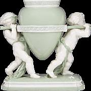 Minton Glazed Parian Celadon Ground Vase w Putti
