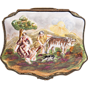 SOLD Late 19th C. German Porcelain Capodimonte Bas Relief Trinket Box