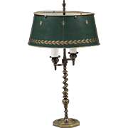 SALE French Brass Spiral Twist Bouillotte Lamp With Tole Shade