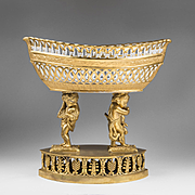 1815 Sevres Reticulated Centerpiece Corbeille Basket Raised On Bronze Base