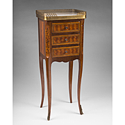 Late 19th C. Petite Louis XV French Marquetry Side Table Or Commode